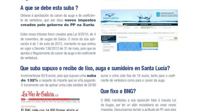 Nova folla informativa do BNG-Moraña arredor da suba de impostos do PP